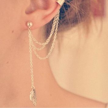 Leaf Chain Tassel Earrings