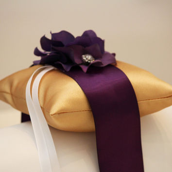 Purple Gold Pillow Wedding Ring for Dogs, Wedding floral Ring Bearer collar