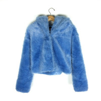 JUST REDUCED // 90's Periwinkle Blue Faux Fur Hooded Jacket