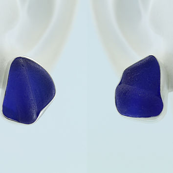 Cobalt Blue Sea Glass Sterling Silver Stud Earrings