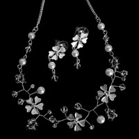 Crystal Silver Cherry Blossom Floral Design Bridal Wedding Necklace Earring Set