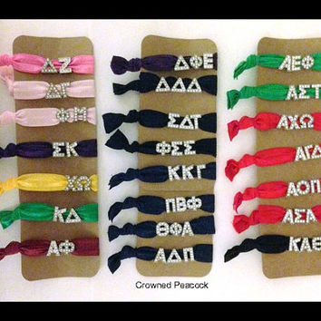 SORORITY CHARM Hair Ties Hair Bands choose sorority Greek Letters Alpha Delta Gamma Sigma Zeta Chi Omega Pi Phi Theta Omicron Epsilon Kappa