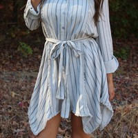 Natural/Grey Woven Dress - Thirty One Boutique