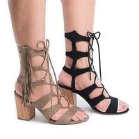 Susie08 By Wild Diva, Open Toe Gladiator Fringe Lace Up Block High Heel Sandals