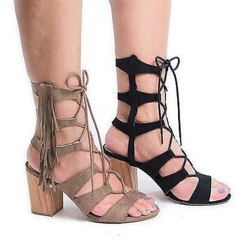 Susie08 Taupe By Wild Diva, Open Toe Gladiator Fringe Lace Up Block High Heel Sandals