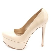 Almond Toe Patent Platform Pumps by Charlotte Russe - Nude