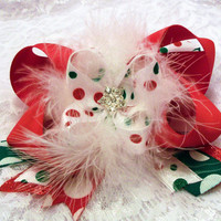 Christmas infant toddler boutique hair bow red and white polka dots green and red ribbons marabou feathers and rhinestone center.