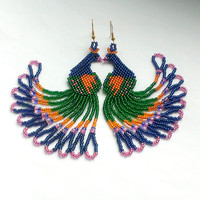 Peacock Seed Bead Earrings-Dangle Earrings- Beadwork Jewelry-Peacock Bird Earrings-Blue Green Earringes With Fringe
