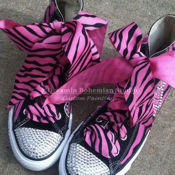 MDIGUG7 Painted Converse High Tops HOT Pink and Black Diva Personalized with Mega BLING CHUCKS