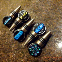 Wine Bottle Stopper, Black with Blue Plume Pattern Dichroic, Fused Glass Art