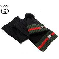 Perfect Gucci Women Men Winter Knit Hat Cap Scarf Set Two-Piece
