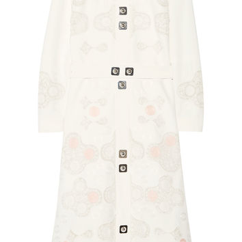 Peter Pilotto - Counter crocheted lace-paneled embellished cady dress
