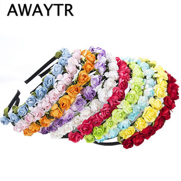 2017 Cute Rose Flower Crown Festival Headband Headwear Wedding Garland Floral Hairband Accessories