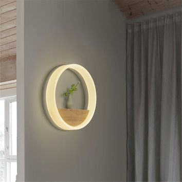 Modern Solid Wood Round Dual-Use Warm Light Wall Lamp (Small Shelf) For Bedroom,Bedside,Aisle And Home Decor Wall Light Fixture,30cm