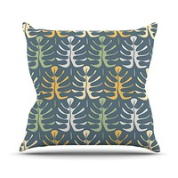 """Kess InHouse Julia Grifol """"My Leaves on Blue"""" Outdoor Throw Pillow, 18 by 18-Inch"""