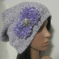 Lavender and White Recycled Sweater Slouch Beanie With Choice of Lavender or White Chiffon Flower Accent Winter Hats Sweater Hats