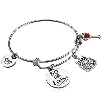 Alxeani Happy Birthday Gifts for Women Expandable Bangle Bracelet 18th 40th 50th 60th 70th 90th Best Friend Bracelet Anniversary Gift