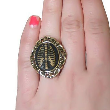 Skeleton Rib Cage Cameo Ring Adjustable One Size Gothic Jewelry