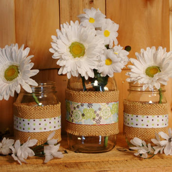 Spring Flowers set of 3 Mason Jars decorated with ribbon and burlap