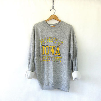 vintage Iowa Hawkeyes college sweatshirt. cotton blend sweatshirt. heather gray and Gold / University of Iowa athletic department