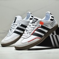 ADIDAS SAMBA classic black and white line men and women retro casual sports shoes