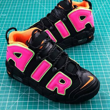 Nike Air More Uptempo Og Black Pink Women's Sport Basketball Shoes - Best Online Sale