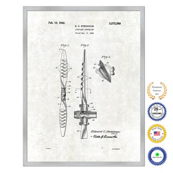 1942 Airplane Propeller Antique Patent Artwork Silver Framed Canvas Print Home Office Decor Great for Pilot Gift