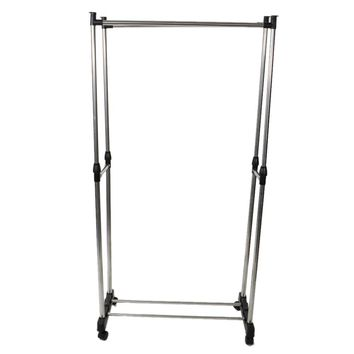 Dual-bar Vertically-stretching Stand Clothes Rack with Shoe Shelf Silver