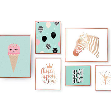 SET of 6 Prints, Children Prints, Blah Poster, Baloons Decor, Kids Party Set, Nursery Wall Art, Zebra Print, Home Decor, Gold Foil Print