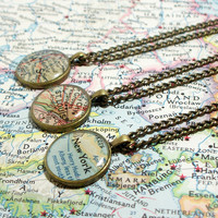 CUSTOM Map Necklace. You Select Location. Anywhere In The World.