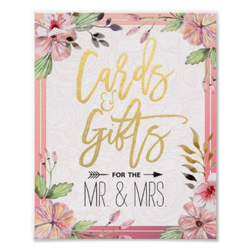 Watercolor Floral Script Cards Gifts Wedding Sign Poster