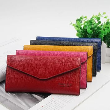 High Quality Fashion Brand Leather Women Wallets Long thin ladies coin Purse Cards Holder Clutch bag magic Wallet female