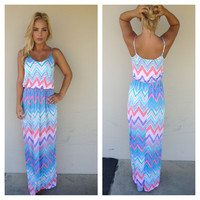 Lilac & Pink Chevron Print Maxi Dress