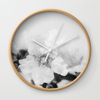 Black And White Blossoms Wall Clock by ARTbyJWP