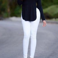 CUTE SEXY HOLLOW OUT BACK FORK TOP SHIRT LONG SLEEVE