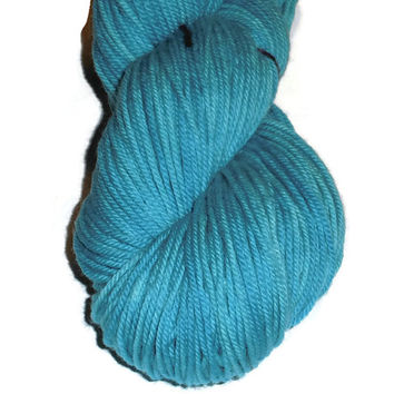 Turquoise Superwash Merino Yarn - Turquoise Hand Dyed Yarn - Turquoise DK Weight Merino Yarn - Turquoise  Double Knit 3 Ply Yarn Turquoise