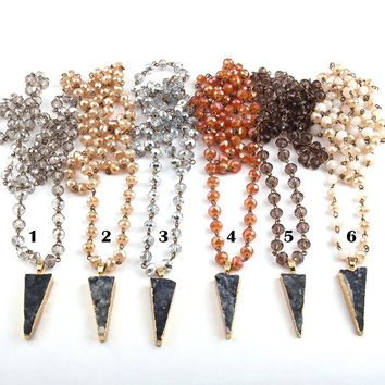 Free Shipping Rosary Chain Crystal Glass Bead &  Natural Druzy Arrowhead Pendant Necklaces