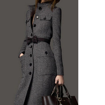 IMC Wool female outerwear HOT new 2016 long design slim tweed coat cashmere winter clothes women woven coat winter coat women