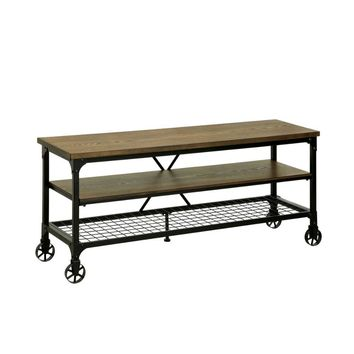"Industrial Style 54"" TV Stand And Entertainment Center Of Wood And Metal, Brown and Black"