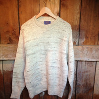 Vintage Pendleton Cream Knit Sweater, L