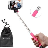InnoGear® Rechargable Selfie Stick with Bluetooth Remote Button Shutter Extendable Self Portraits Pole Handheld Monopod for Samsung Galaxy Note 3 2 S5 S4 S3 i9220 i9250 i9300 i9500 i9190 iPhone 6 6 Plus 5 5S 5C 4 4S (Pink)