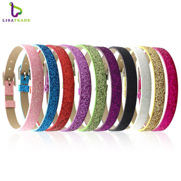 "100PCS 8MM PU Leather Glint DIY Wristband Bracelets "" Can Choose the Color"" Fit Slide Letter  LSBR05*10--LSBR05-10*100"