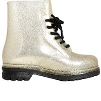 Glitter Lace Up Rain Boot - Gold