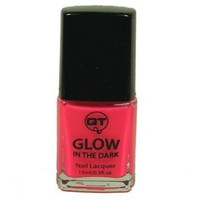 QT Glow In The Dark Neon Nail Lacquer Nail Polish Hot Pink 0.5 Oz / 15ml Made In USA