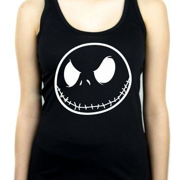 Negative Jack Skellington Face Women's Racer Back Tank Top Shirt Nightmare Before Christmas