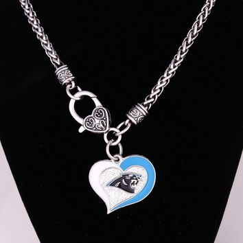 New Arrival  Carolina Panthers  pendant with wheat link chain lobster clasp necklace