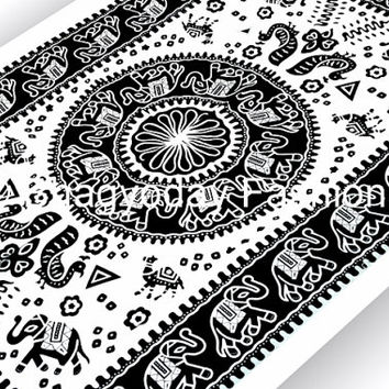 Beautiful Indian mandala round elephant block print tapestry bedsheet Hippie bedspread Bohemian bed cover wall hanging Picnic Decorative Art