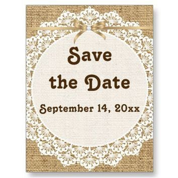 White doily, lace and burlap wedding Save the Date Postcards from Zazzle.com