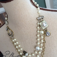 Assemblage Necklace - Multi Strand Pearl and Gold Necklace - Vintage Inspired Bridal Jewelry