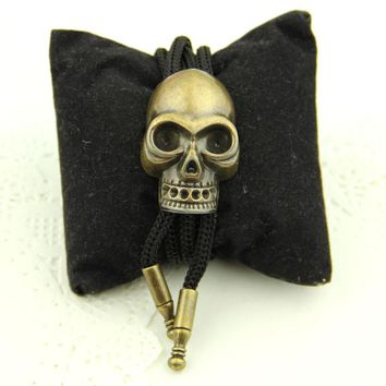 Skull Bolo Ties for Men Bronze Gold American Cowboy Style Necktie Mens Accessories